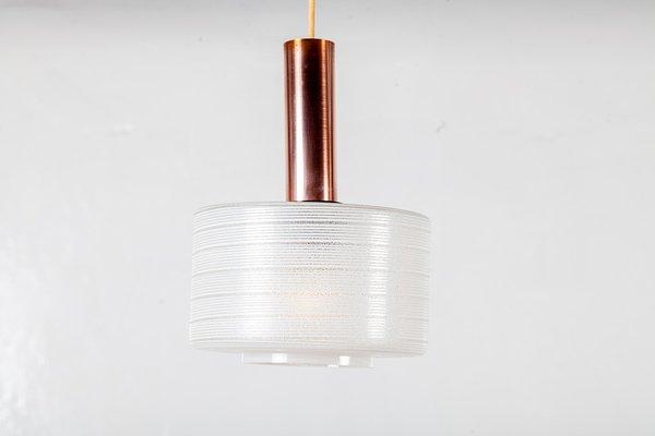 Lampade a sospensione in rame e vetro di louis kalff per philips
