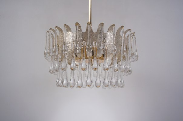 Vintage Silver Plated Chandelier With 78 Crystals By Ernst Palme For Palwa 1960s 1