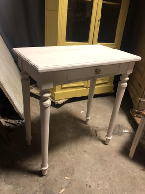 Vintage French White Side Table 1
