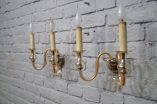 Applique vintage in vetro di murano color ambra italia anni 60