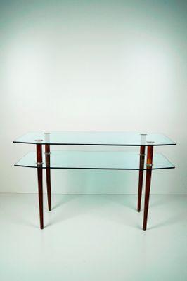 Tavolino da caffè in vetro e legno a due ripiani, anni \'60 in ...