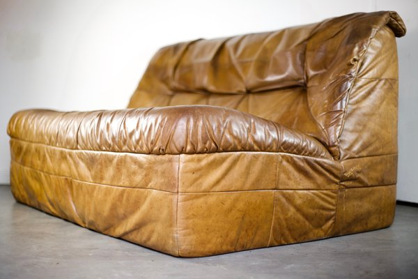 Cognac Leather Sofa From Rolf Benz 1970s