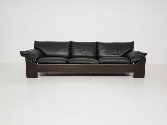 Oak & Leather 3-Seater Sofa from Leolux, 1970s for sale at Pamono