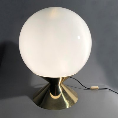 Mid Century Italian Modern Table Lamp With Opaline Glass Globe, 1970s
