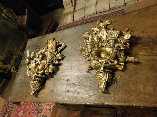 Applique antiche in legno dorato xix secolo set di 2 in vendita su
