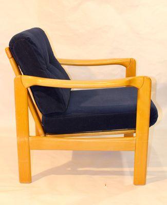 Scandinavian Armchair With Navy Velvet Fabric, 1950s 1
