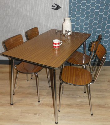 Charmant Formica And Chrome Dining Chairs, 1960s, Set Of 4