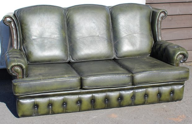 Green Leather 3 Seater Chesterfield Sofa, 1960s for sale at Pamono