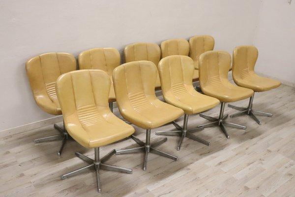 Sedie Vintage Pelle : Sedie vintage girevoli in metallo e pelle anni set di in