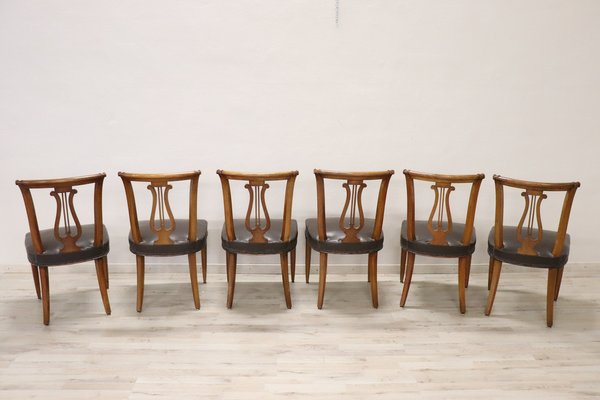 Sedie Vintage Anni 50 : Sedie vintage in legno di noce intagliato anni set di in