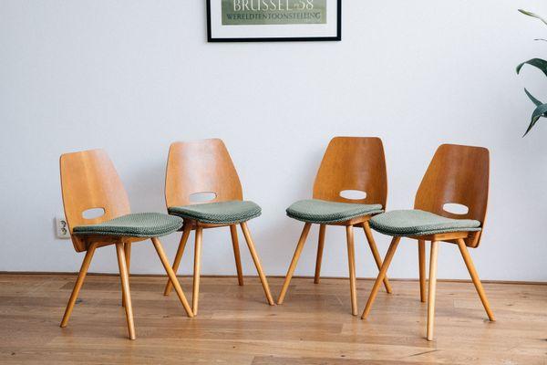 Vintage Dining Chairs By Frantisek Jirak For Tatra Set Of 3