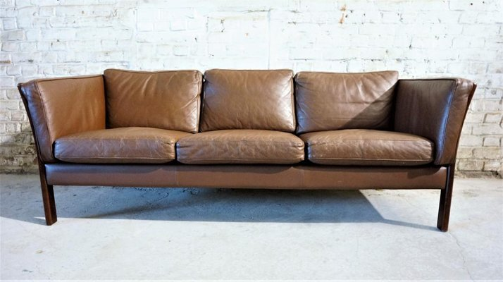 Brown Leather Scandinavian Sofa, 1970s