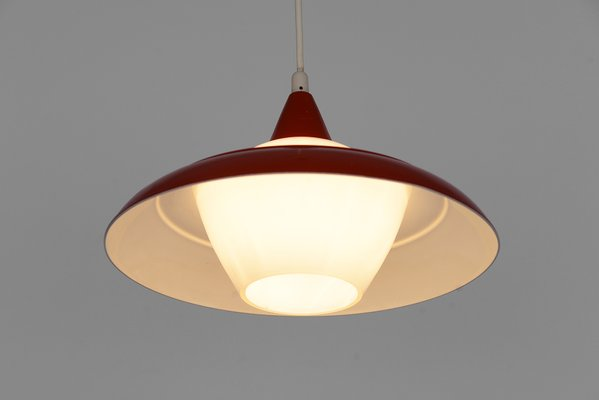 Swedish Opaline Gl Pendant Light With Red Metal Shade 1970s