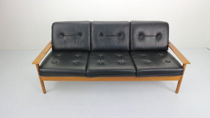 Mid-Century 3-Seater Leather Sofa, 1960s