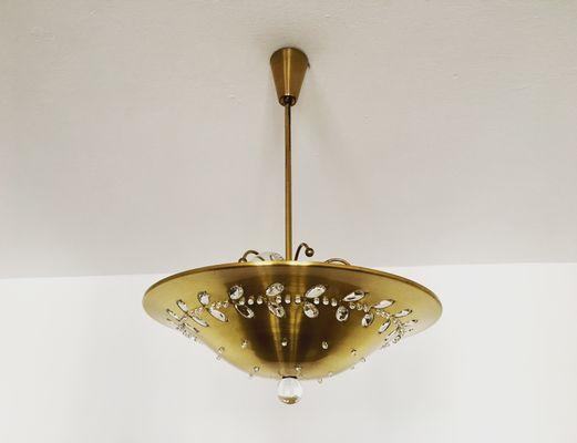 Lámpara De Techo Con Incrustaciones Florales De Cristal Años 50 En Venta En Pamono
