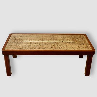 Table Basse Vintage En Bois Et En Ceramique Par Jean D Asti En Vente