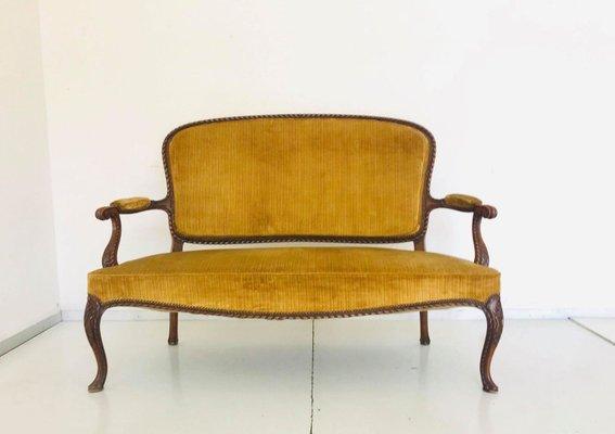 Magnificent Chippendale Velvet Wood Bench 1950S Machost Co Dining Chair Design Ideas Machostcouk
