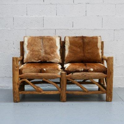 Wood Cowhide Sofa 1970s