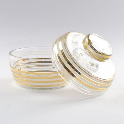 Art Deco Glass Candy Box or Powder Box from Podbira Brothers, 1930s