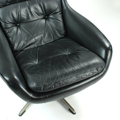 Admirable Finnish Black Leather Swivel Chair From Peem 1960S Gmtry Best Dining Table And Chair Ideas Images Gmtryco