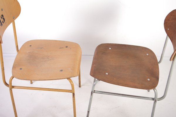 Pleasing Vintage Plywood School Chairs 1960S Set Of 2 Pabps2019 Chair Design Images Pabps2019Com