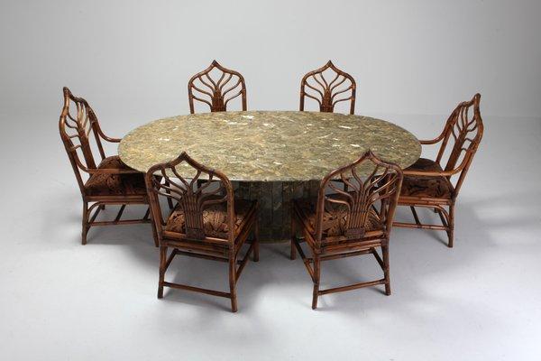 Table de Salle à Manger en Marbre et Laiton par Jean Charles, 1970s ...