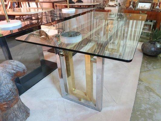 Tavolo da pranzo vintage in metallo e vetro di Romeo Rega, Italia in ...