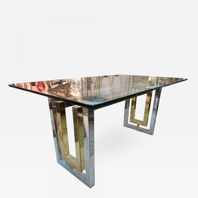 Vintage Italian Gl And Metal Dining Table By Romeo Rega 1