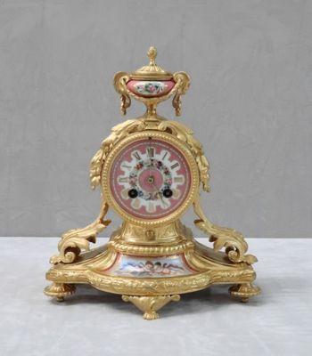 Horloge De Cheminee Napoleon Iii Antique En Bronze Dore Et En