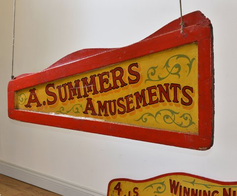 Vintage Signs For Sale >> Vintage Double Sided Amusement Fairground Signs Set Of 2 For Sale