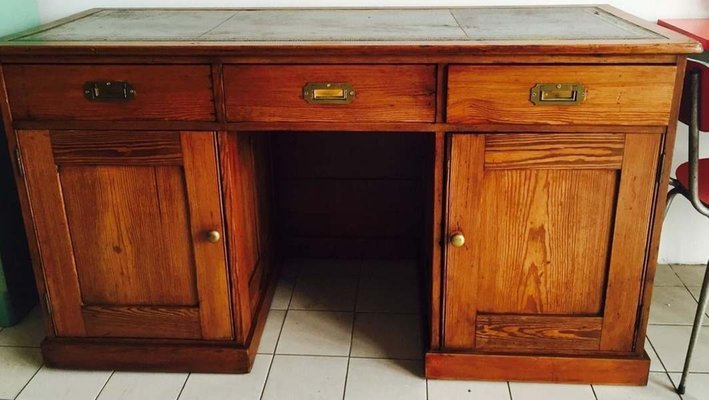 Bureau vintage en bois en cuir en vente sur pamono