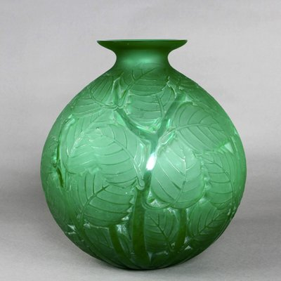 Milan Green Glass Vase by Rene Lalique, 1929