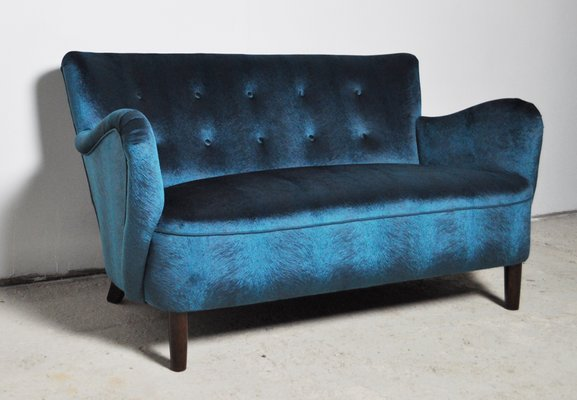 Sensational Mid Century Curved Blue Velvet Sofa 1950S Onthecornerstone Fun Painted Chair Ideas Images Onthecornerstoneorg