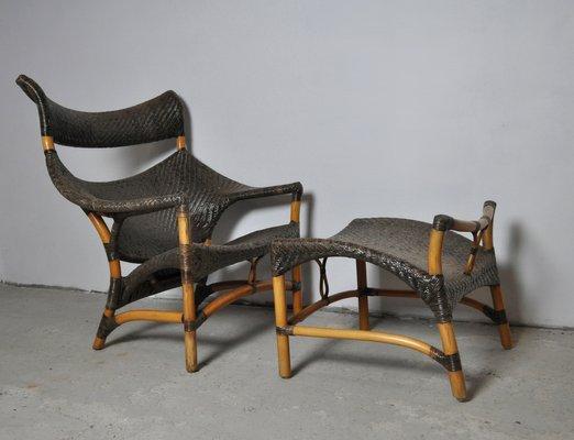 Sedia e sgabello in vimini intrecciati di yuzuru yamakawa anni 80