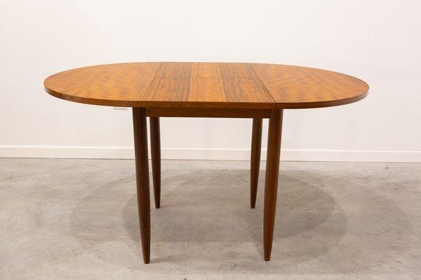 Tavolo da pranzo rotondo allungabile, anni \'60