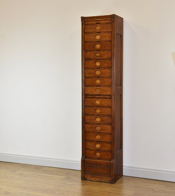 the best attitude a4041 9d13c Art Deco Oak Tall & Narrow 15-Drawer Filing Cabinet from Amberg, 1930s