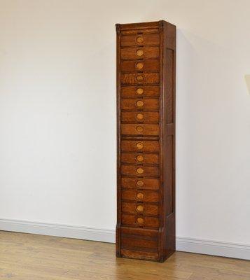 Superbe Art Deco Oak Tall U0026 Narrow 15 Drawer Filing Cabinet From Amberg, 1930s