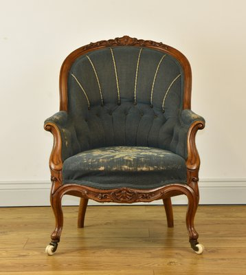 Antique Victorian Walnut Needlework Upholstered Armchair 1860s For