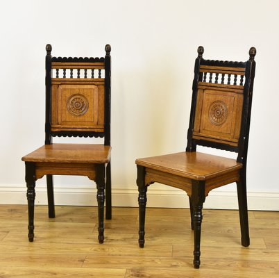 Arts Crafts Oak Side Chairs From James Shoolbred Co 1870s Set