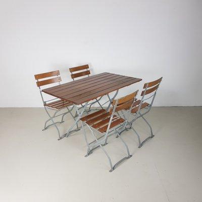 Tavolo Da Giardino Con 4 Sedie.Tavolo Da Giardino Pieghevole Vintage Con 4 Sedie Germania Anni