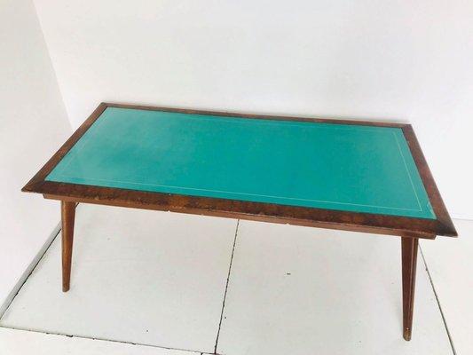 Tavolo In Vetro Con Base In Legno.Tavolo Vintage In Legno Con Ripiano In Vetro Verde Anni 50