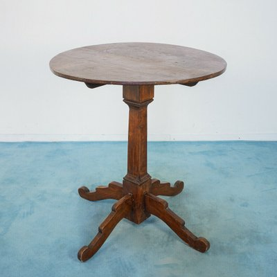 Antique Wooden Small Round Table 1900s, Small Round Antique Side Table