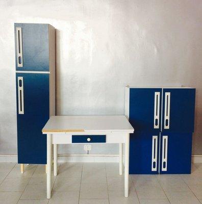 Tavolo da cucina in legno con due mobiletti, anni \'70 in vendita su ...