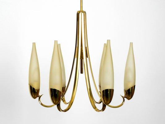 Mid Century Modern Brass Chandelier, Mid Century Modern Brass Chandelier