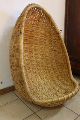Vintage Rattan Hanging Egg Chair 2