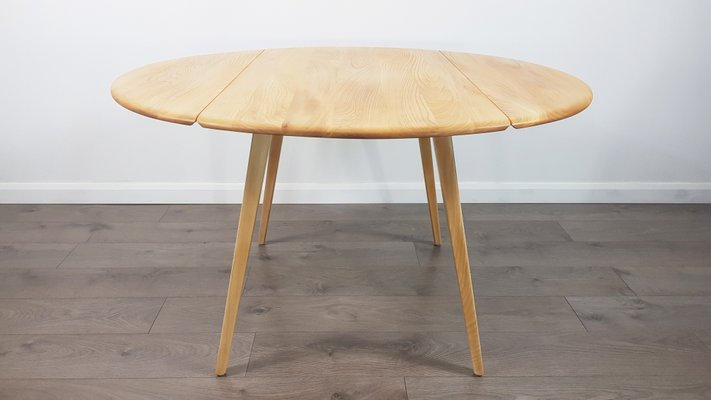 Super Mid Century Drop Leaf Round Dining Table By Lucian Ercolani For Ercol Ncnpc Chair Design For Home Ncnpcorg