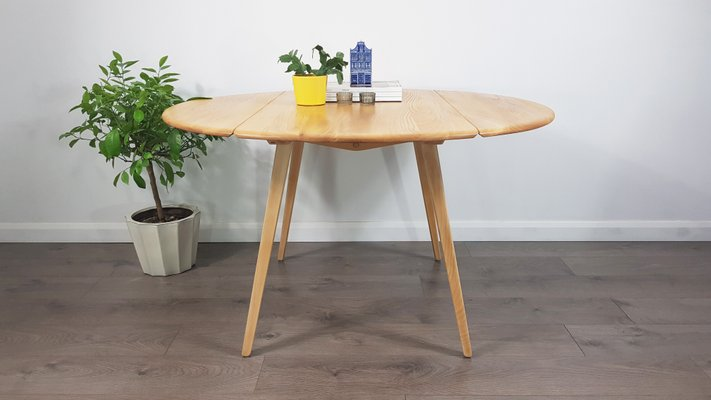 Miraculous Mid Century Drop Leaf Round Dining Table By Lucian Ercolani For Ercol Download Free Architecture Designs Salvmadebymaigaardcom