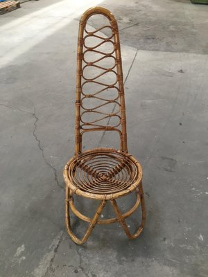 59de98e8ccbac Vintage French Rattan   Bamboo High Back Chair