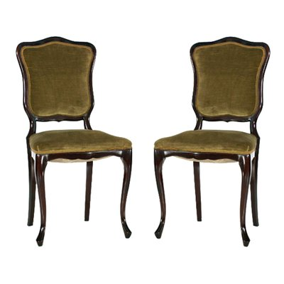 French Art Nouveau Mahogany Velvet Side Chairs 1910s Set Of 2