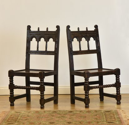 Victorian Jacobean Revival Oak Hall Side Chairs 1880s Set Of 2 1